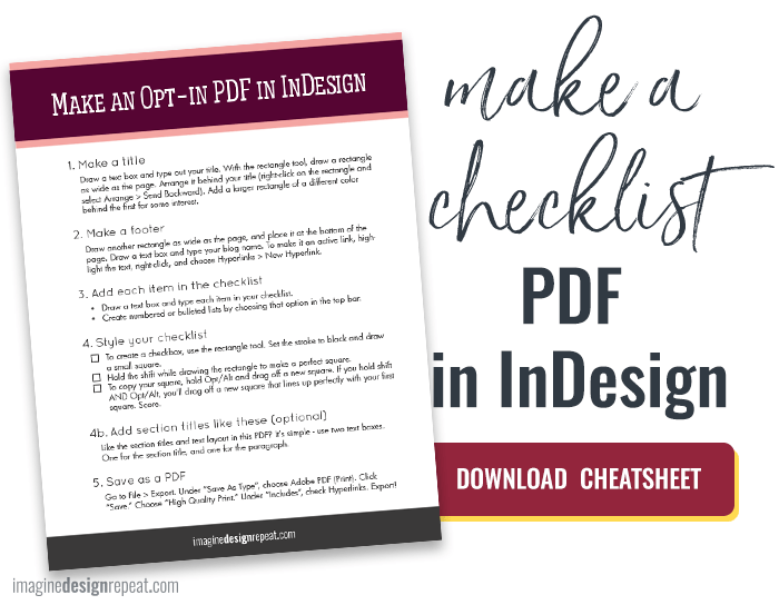 Make An Easy Opt In Checklist In Indesign From Imagine