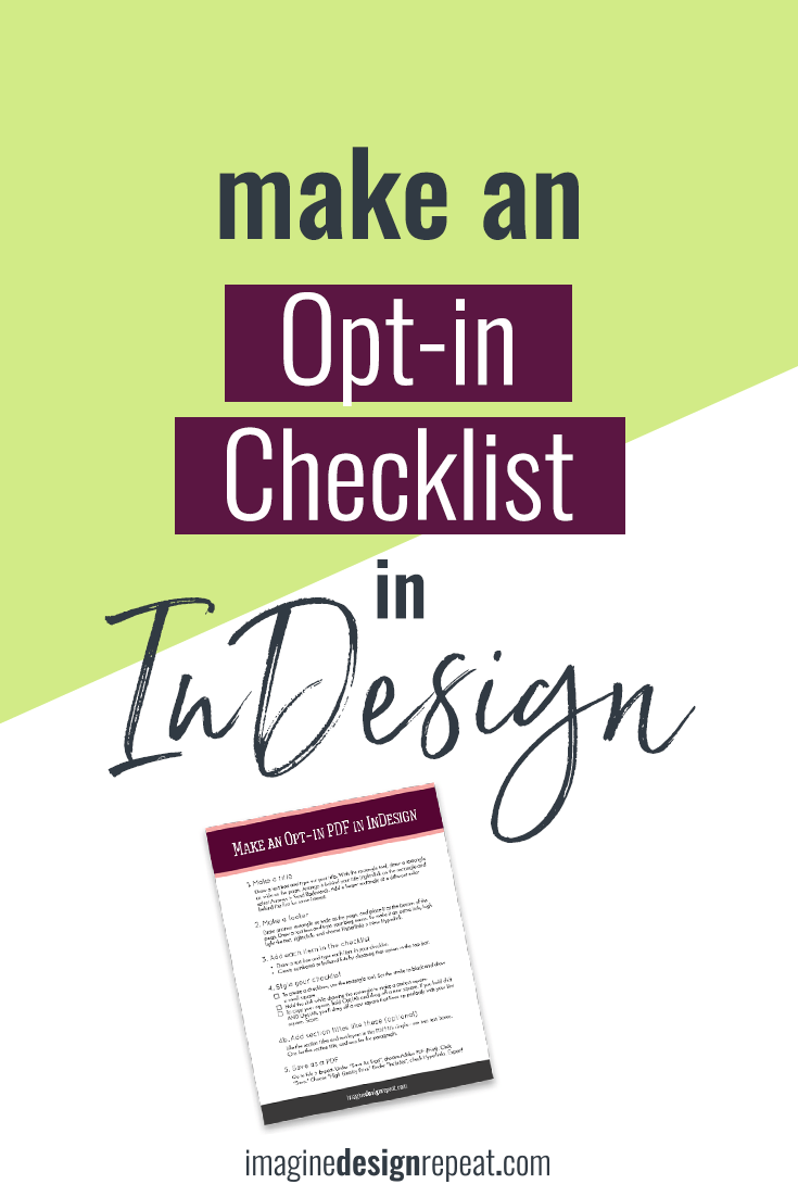 Make an opt-in checklist in InDesign