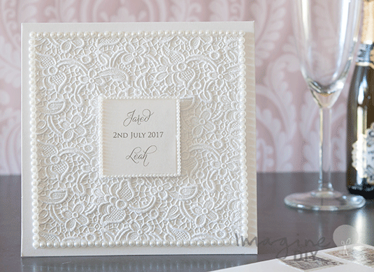 Embossed Card For Wedding Invitations: How To Make… Lace Embossed Pocket Invitation With Pearls