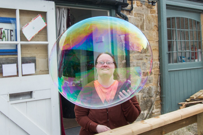 Sarah in a bubble