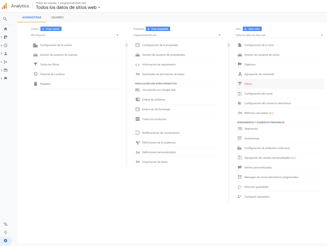 google analytics filtros