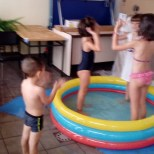 pool time (young learning from eldest;)