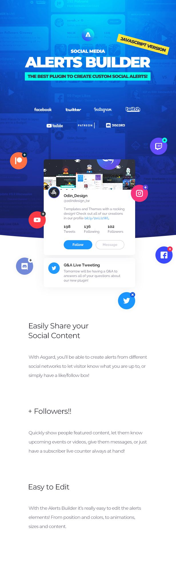 Asgard - Social Media Alerts & Feeds Javascript Builder - Facebook, Instagram, Twitch and more! - 9