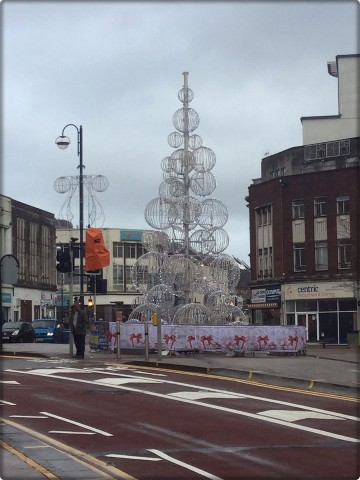 Swansea's Christmas tree. Balls. Lots of balls.