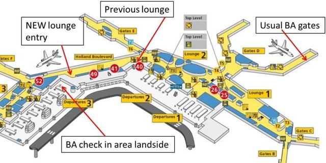 Map of New British Airways Lounge location