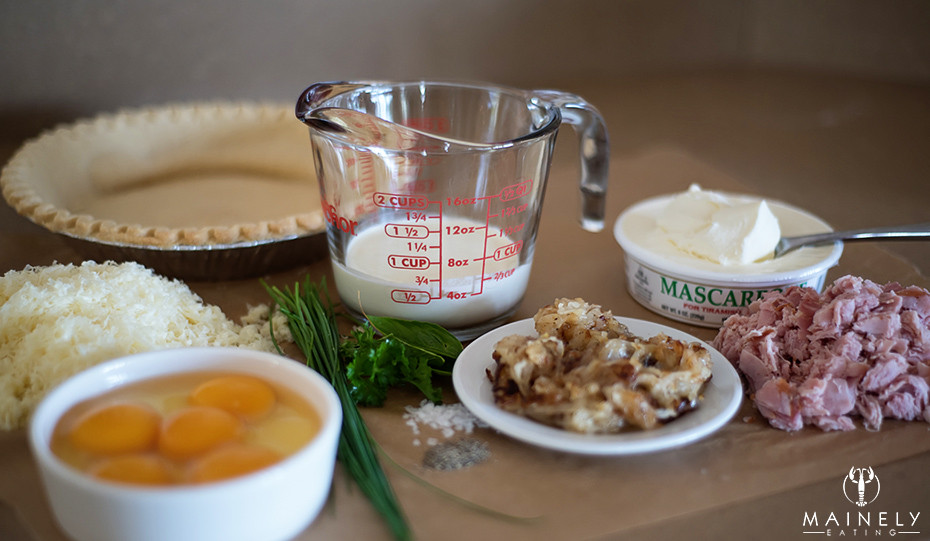 Ingredients for caramelized onion, gruyere and ham quiche