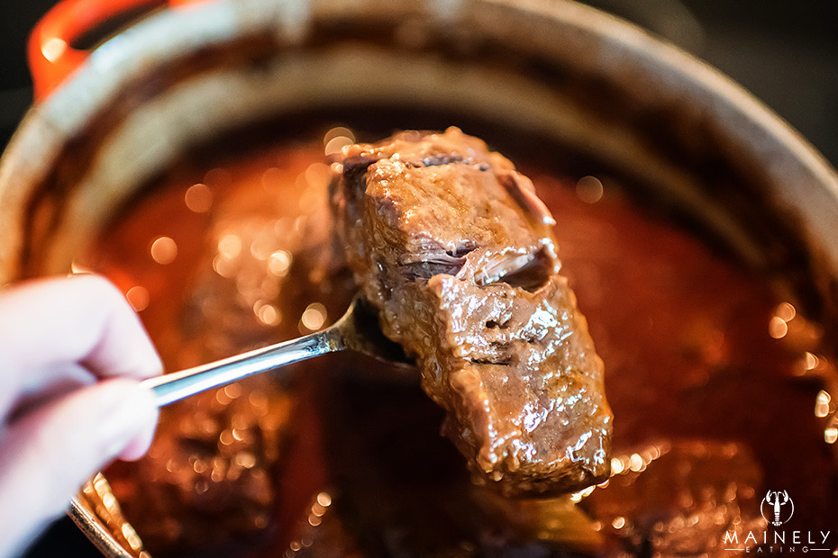 Fall-apart beef short ribs braised in a rich Irish stout