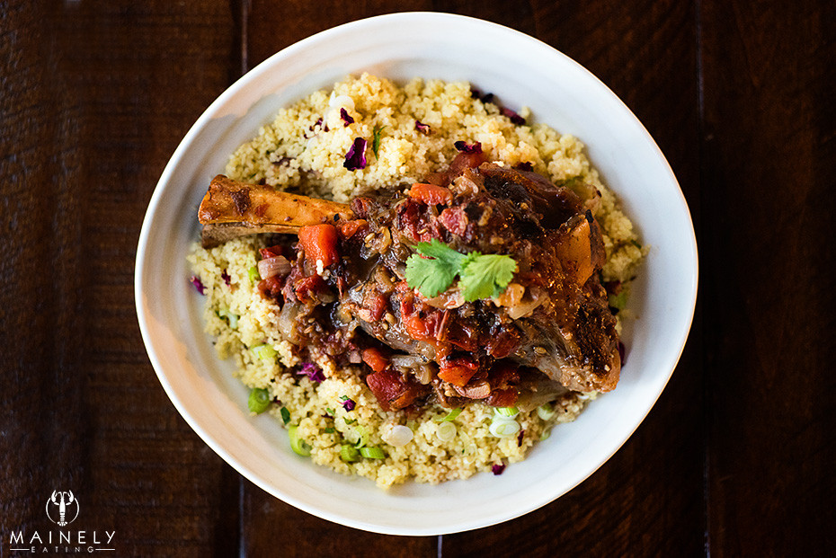 Fragrant and fork-tender lamb shanks on a bed of lemon cous cous