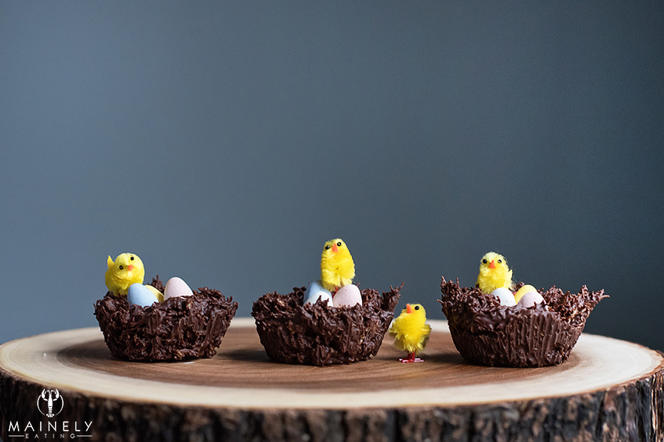 Easy Chocolate Easter Nests with shredded wheat and mini eggs