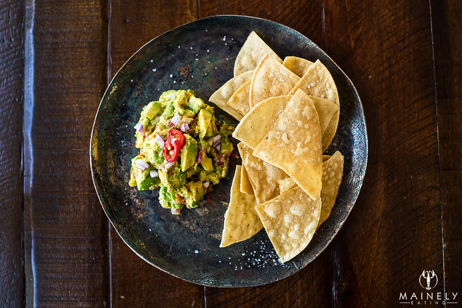 Chunky fresh guacamole with hot chile