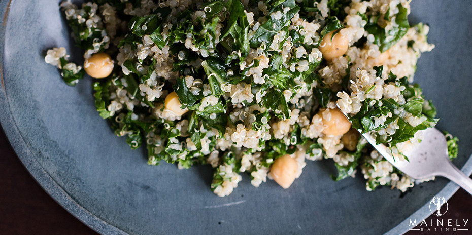 Vegetarian kale, chickpea and lemon quinoa recipe
