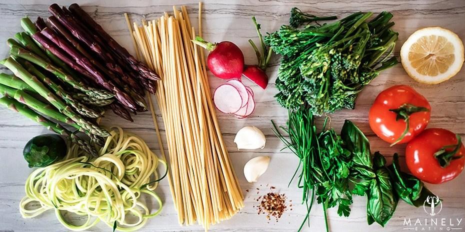 Ingredients for pasta primavera