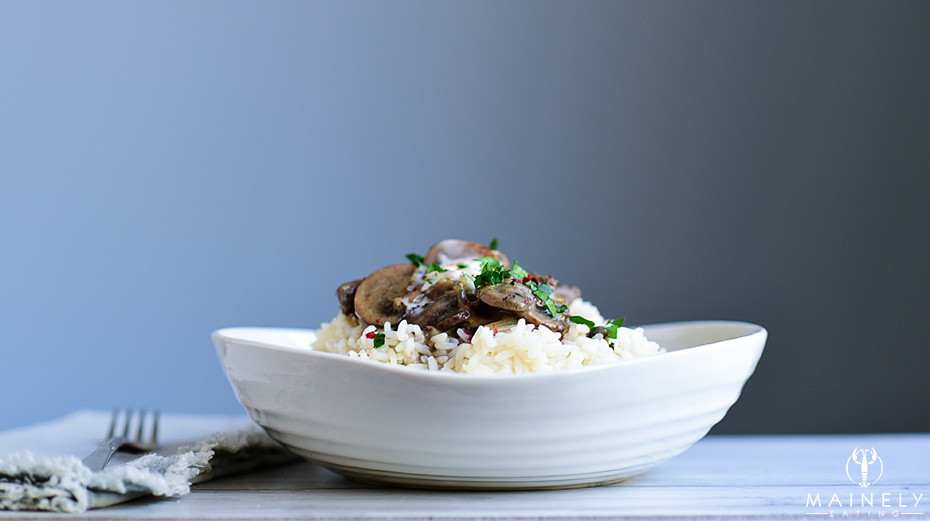 A delicious bowl of Beef Stroganoff with filet mignon and mushrooms