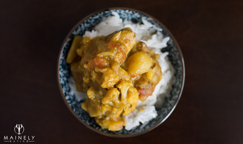 Thai yellow curry bowl with sticky white rice