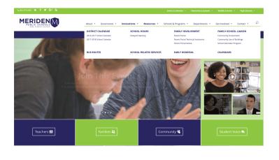 Meriden School District Website Home Page Menu