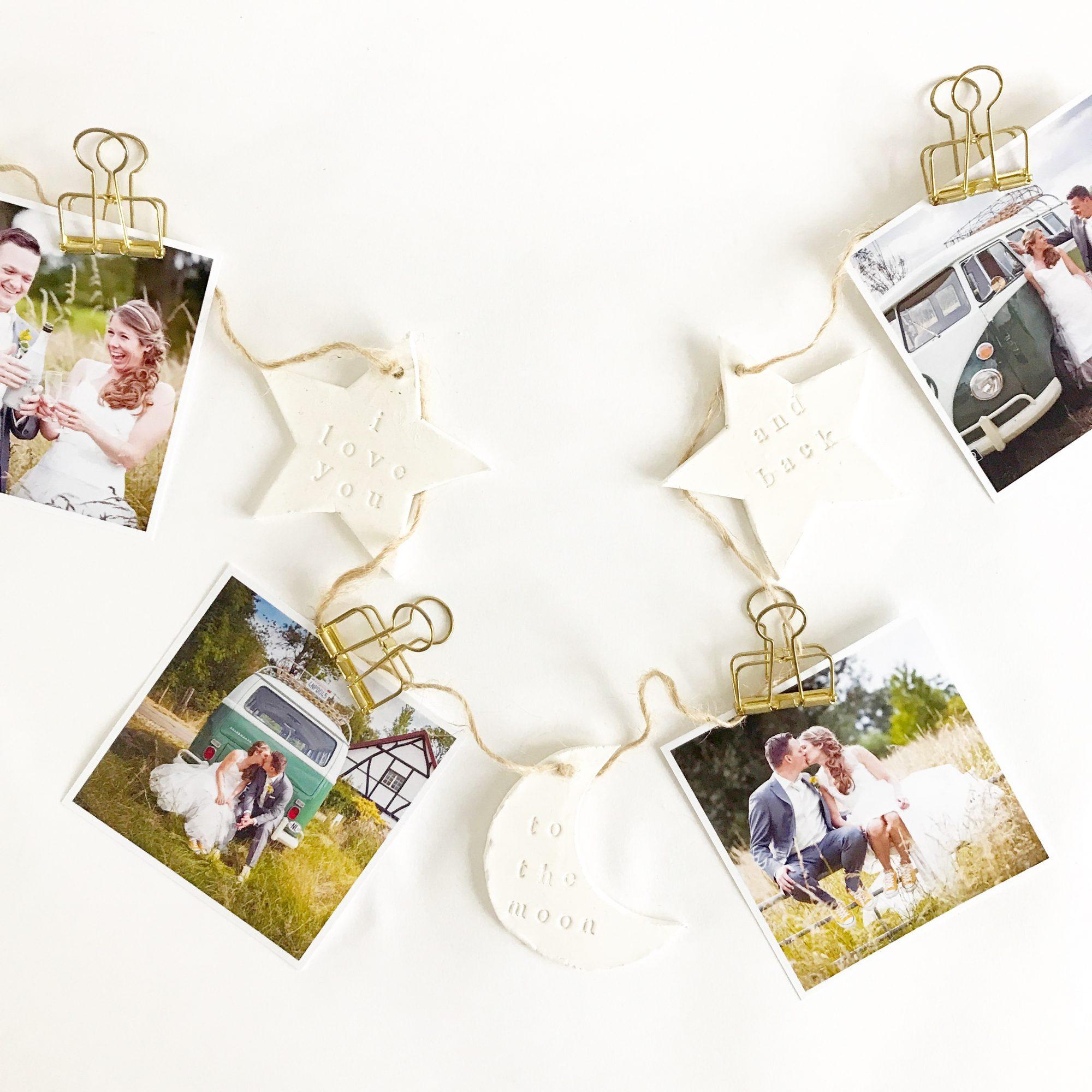 Bruiloft DIY fotoslinger met kleihangers - IMAKIN