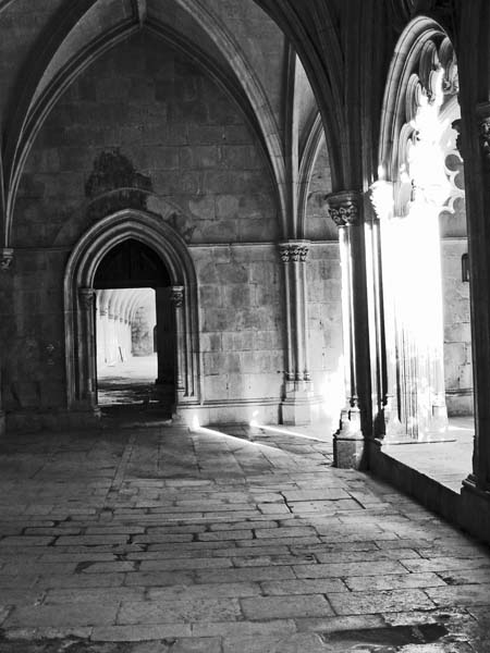 black and white photo of Portuguese monestary