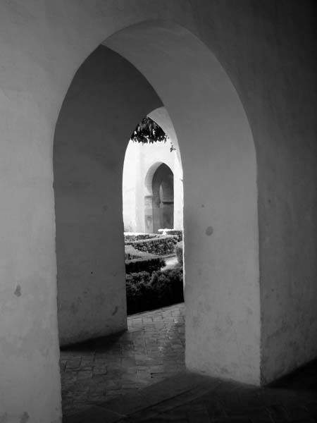 black and white photo Granada Spain