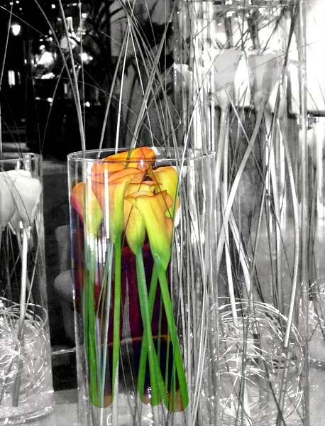 flowers in crystal vases