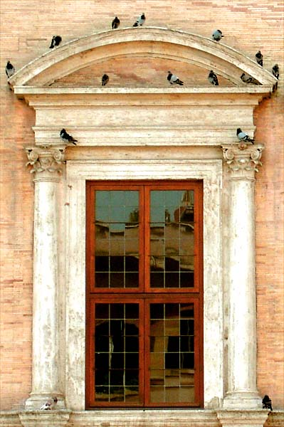Roman Renaissance window with birds