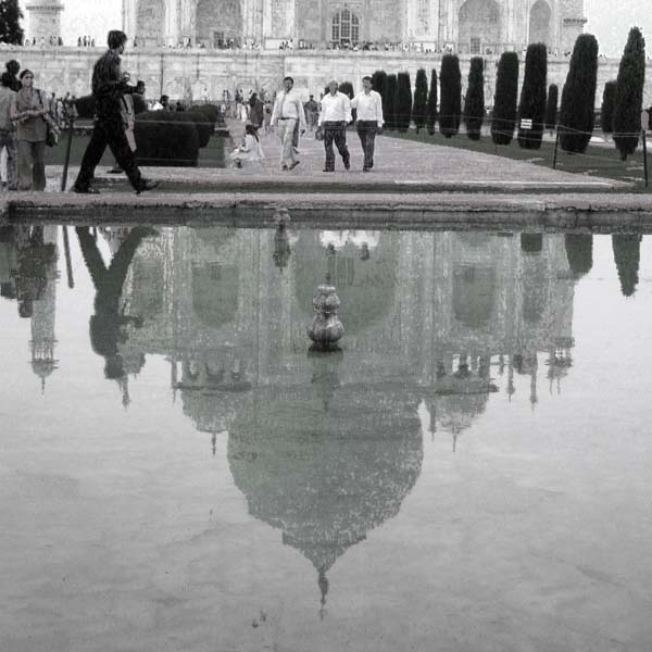 Photo of Taj Mahal reflected in a pond