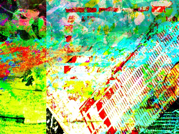 Colorful artwork with intermittent red lines and lots of green