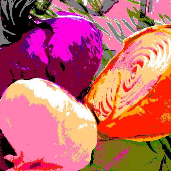 still life with magenta onion and pink garlic
