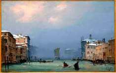 """Ippolito Caffi, """"Venezia, Neve e nebbia in Canal Grande"""", 1842, Olio su cartoncino intelato, 26,5 x 41,5 cm Fondazione Musei Civici di Venezia"""