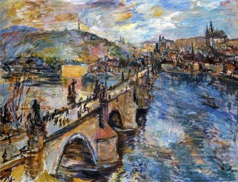 Oskar Kokoschka, Vista del Ponte Carlo a Praga, 1934