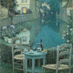 Henri Le Sidaner, Piccolo tavolo al crepuscolo serale, 1921
