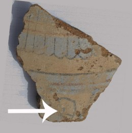 A fragment of a blue painted vessel with a portion of a mandrake fruit preserved