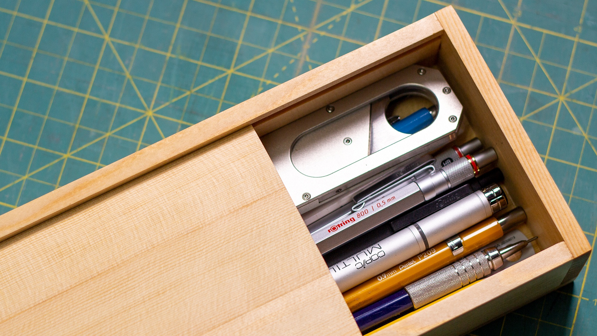 Pencil box made from recycled 2 by 4 lumber