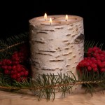 Holiday Birch Log Candle Holder