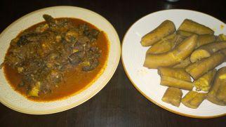 Isi Ewu and boiled unripe Plantain