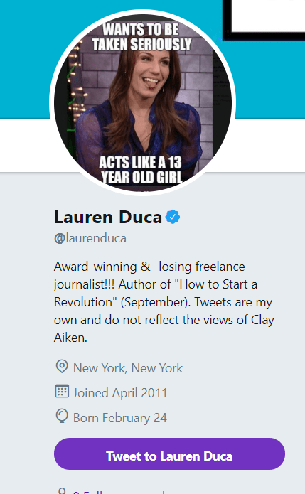 "The Twitter profile bio of Lauren Duca shows her photo and describes her as an ""award-winning and losing freelance journalist."""