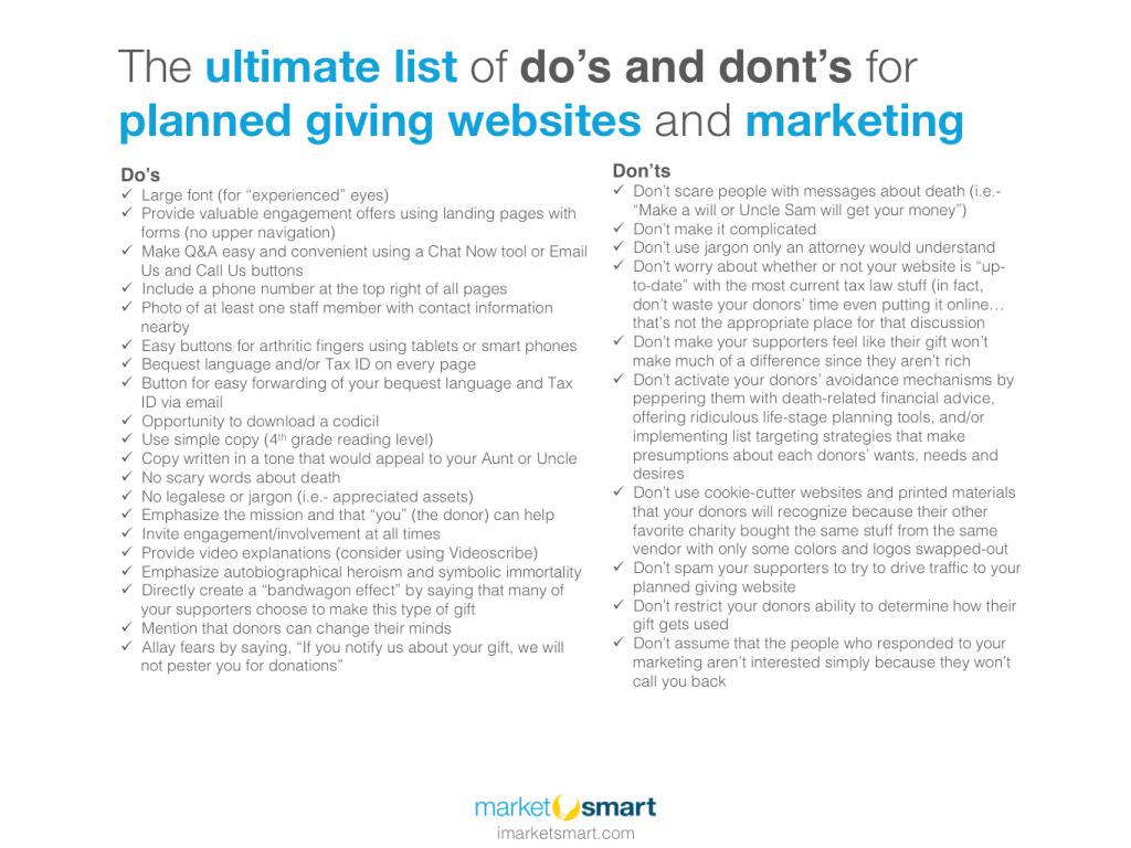 do's and dont's for planned giving websites and marketing