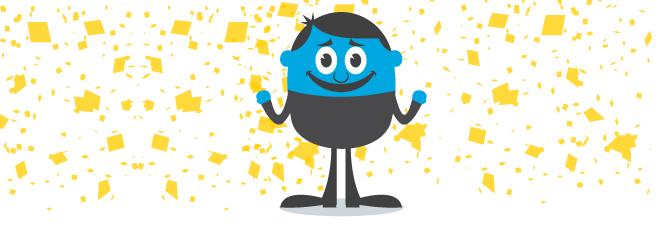 Blue Guy Celebrating