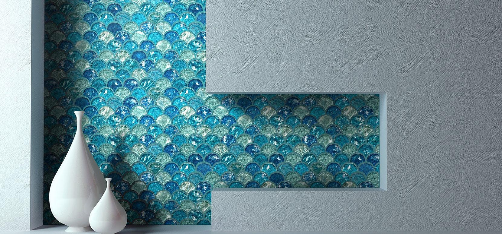 try oasis blue fan iridescent glass