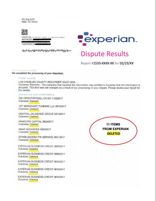 Credit Bureau Dispute Letter