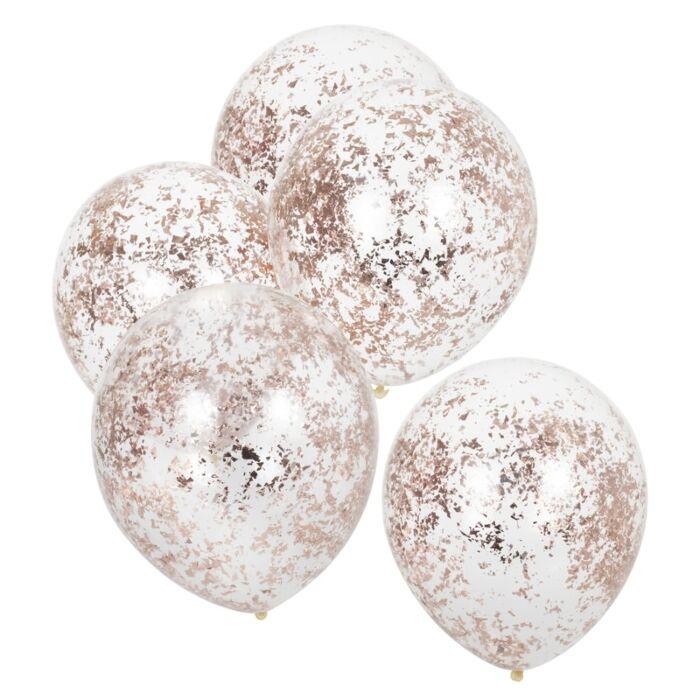 globos de latex confetti oro rosa