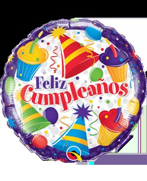Globo Metalizado redondo Feliz Cumpleaños Gorritos