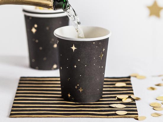 Vaso negro estrellas oro