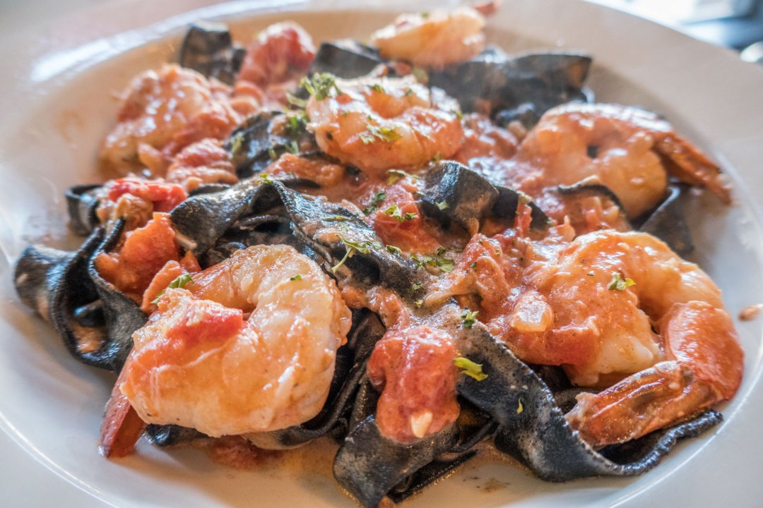 Squid Ink Fettuccine with Shrimp in vodka sauce at Pastorante Harrisburg Pennsylvania