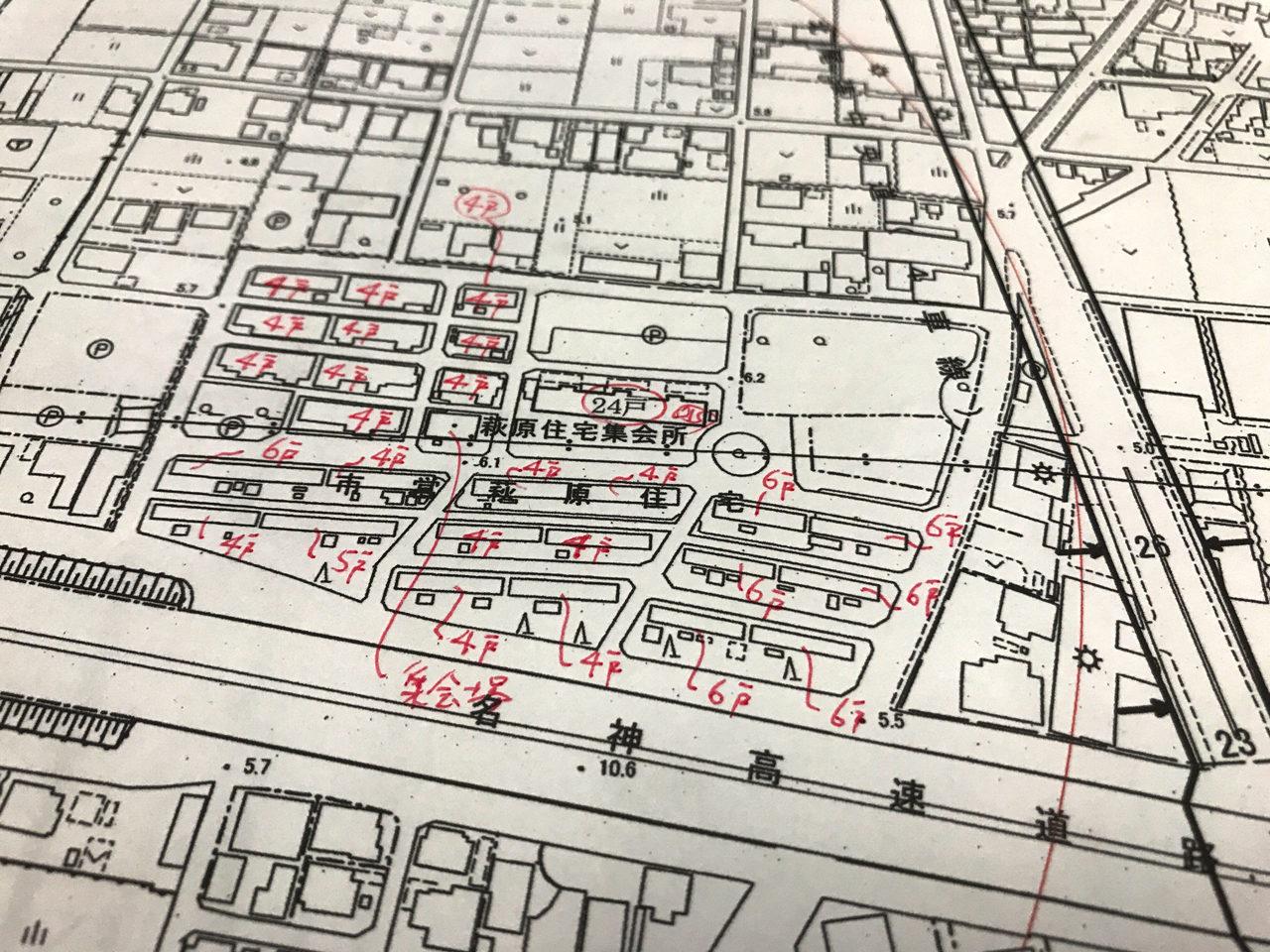 市街化調整区域の市営萩原住宅の都市計画図