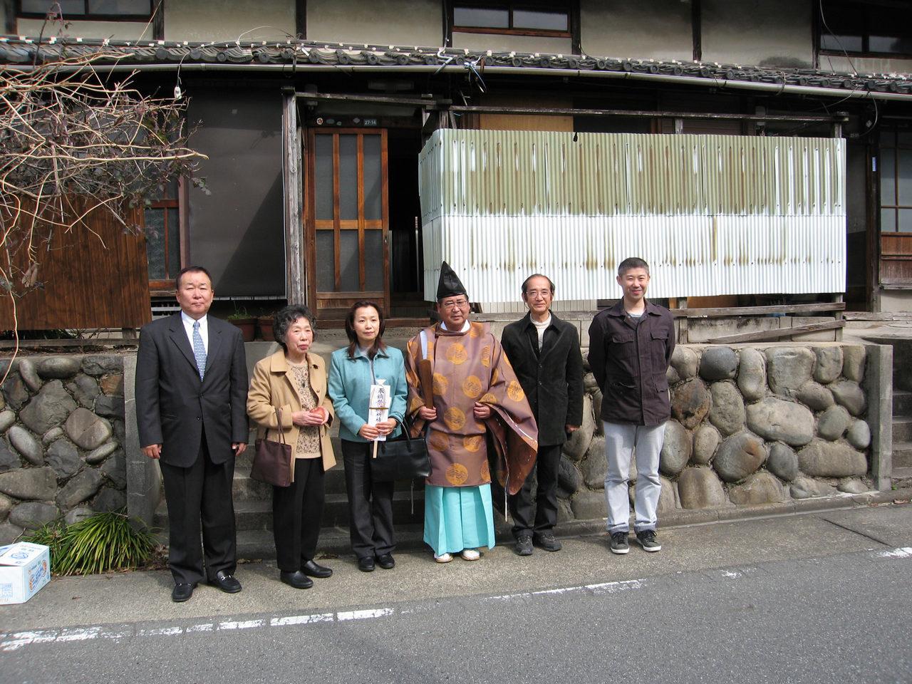 名古屋市昭和区で設計・デザインしたカフェとギャラリー付きワンルームデザイナーズ賃貸マンションの地鎮祭