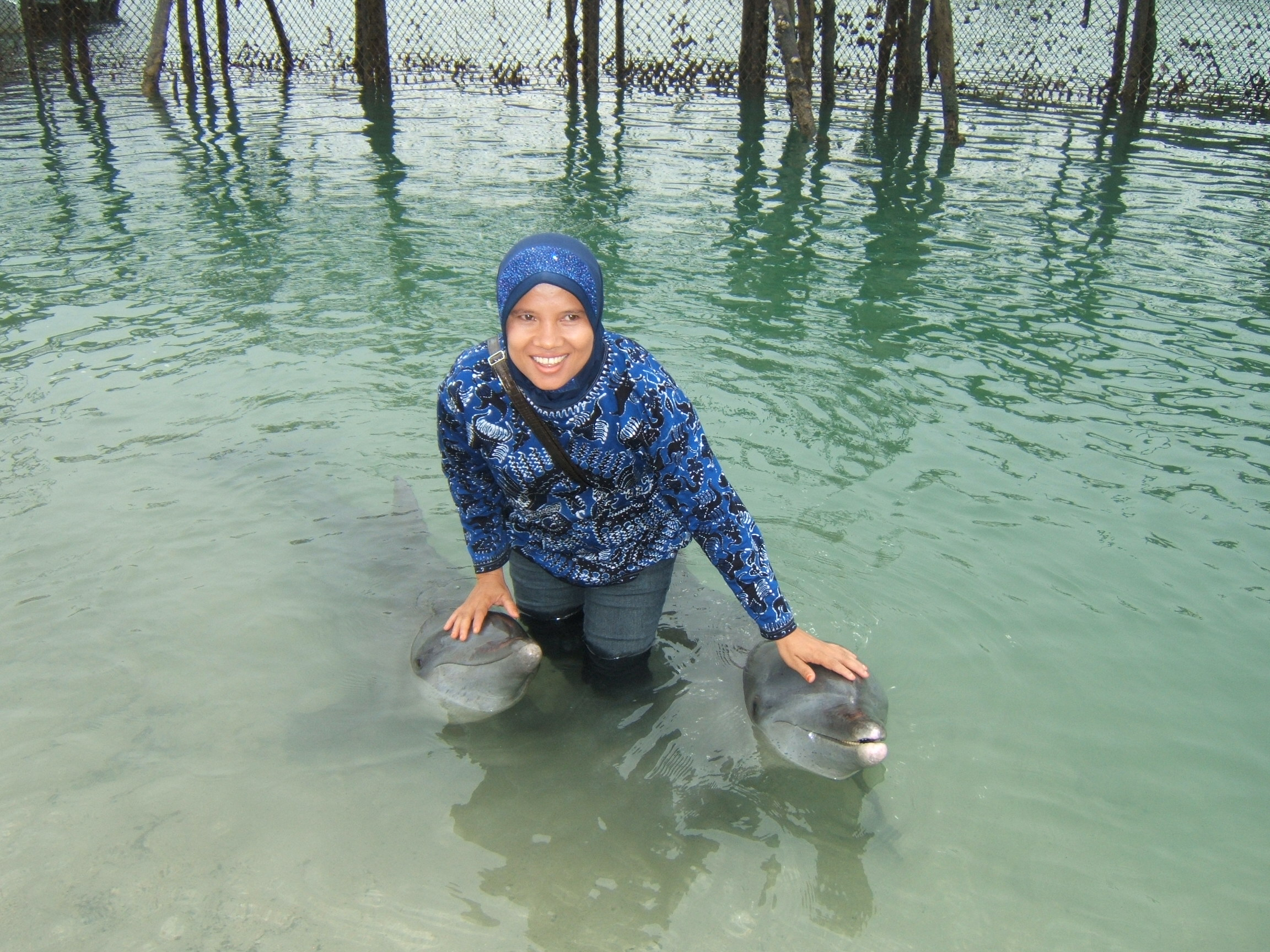Ibu Reni guru Sekolah Islam Hang Tuah Batam begitu senangnya dapat menjamah sang Dolphin yang jinak, tak apelah berbasah-basah demi memegang kepala sang Dolphin ujarnya.