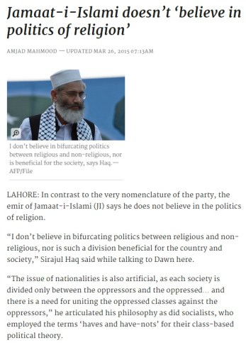 JI on politics of religion