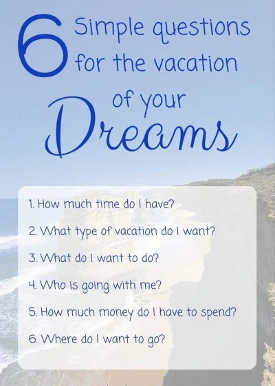 6 Simple Questions to Plan the Vacation of Your Dreams