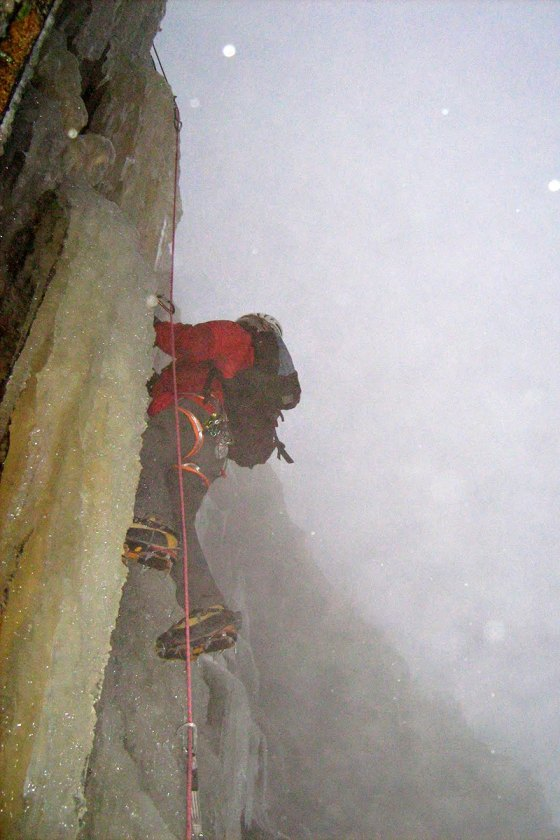 Erik Eisele seconding the middle pitch on Fafnir, early November, 2010.  The ice was not so thick this year.