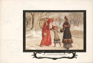 Embossed card featuring 'A Child's Delight', by Kate Greenaway.